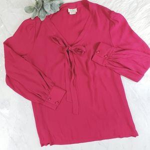 Kate Spade Hot Pink Pussybow Longsleeve Top